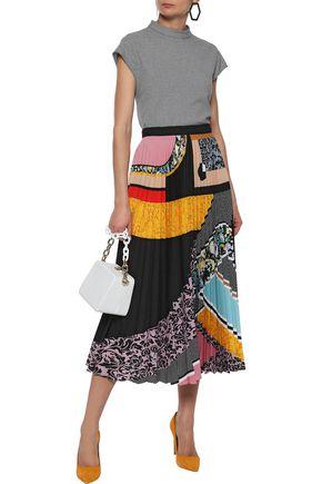 MARY KATRANTZOU Pleated printed washed-crepe midi skirt