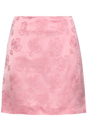 ALEXACHUNG Floral satin-jacquard mini skirt