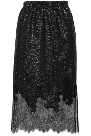 ROBERT RODRIGUEZ Chantilly lace-paneled sequined jersey skirt