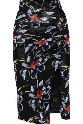 DIANE VON FURSTENBERG Ruched floral-print mesh skirt