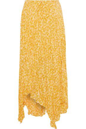 JOIE Hiwalani asymmetric printed crinkled-silk midi skirt