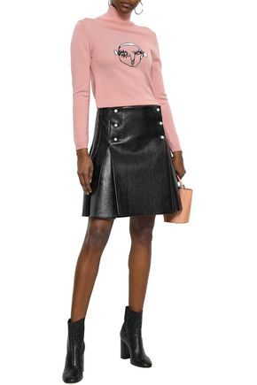 SHRIMPS Pleated faux pearl-embellished faux pearl mini skirt
