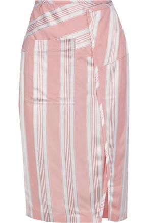 ACNE STUDIOS Karlotta wrap-effect striped twill skirt