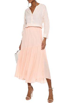 JOIE Hiwalani B gathered georgette midi skirt