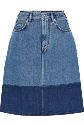 ACNE STUDIOS Halona frayed two-tone denim skirt