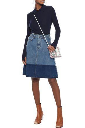 ACNE STUDIOS Halona frayed two-tone denim skirt