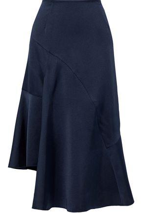 IRIS & INK アシンメトリー サテンクレープ ミディスカート