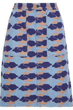 ACNE STUDIOS Steel appliquéd printed denim skirt