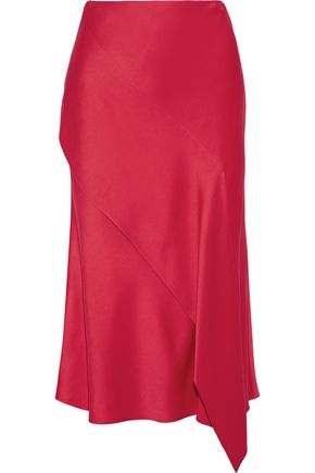 JASON WU Asymmetric draped satin-crepe midi skirt
