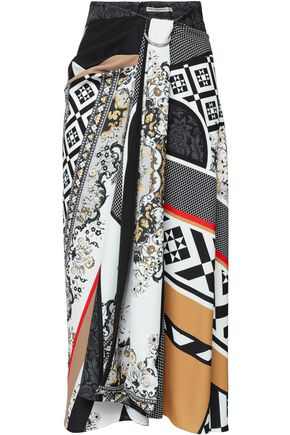 MARY KATRANTZOU Printed crepe de chine midi skirt
