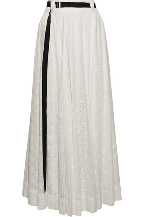 ROBERT RODRIGUEZ Belted broderie anglaise cotton maxi skirt