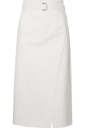 ROBERT RODRIGUEZ Wrap-effect belted cotton-blend twill midi skirt