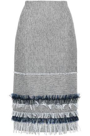 ROLAND MOURET Fringe-trimmed cotton-blend tweed and crepe-paneled skirt