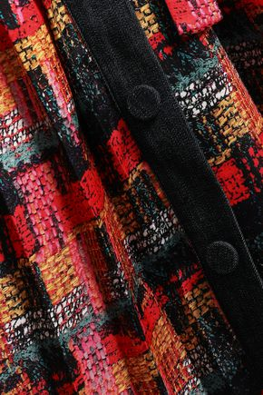ADAM LIPPES Denim-trimmed pleated printed satin midi skirt