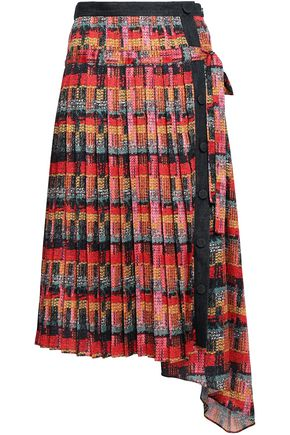 ADAM LIPPES Denim-trimmed pleated printed satin midi skirt