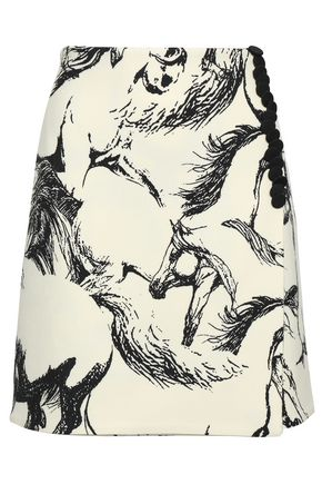 ADAM LIPPES Printed wool-twill mini skirt