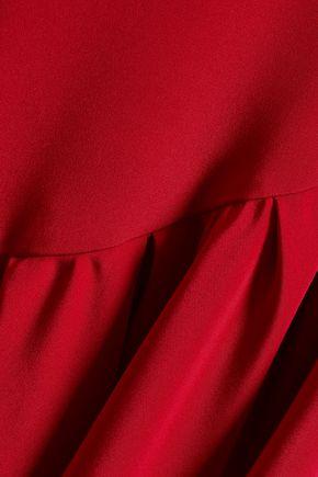 ADAM LIPPES Wrap-effect ruffled silk-crepe midi skirt