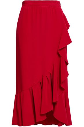ADAM LIPPES Wrap-effect ruffled silk-crepe midi skirt