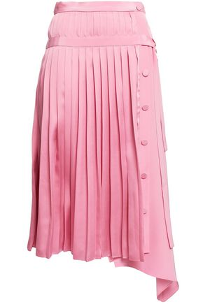 ADAM LIPPES Wrap-effect pleated satin midi skirt