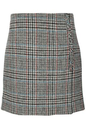 ADAM LIPPES Wrap-effect houndstooth wool mini skirt