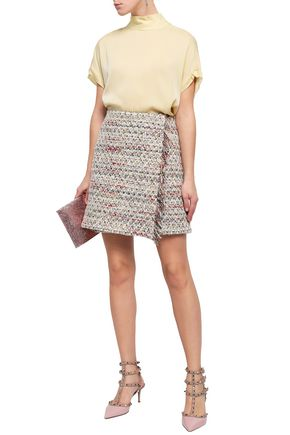 ADAM LIPPES Wrap-effect bouclé-tweed mini skirt