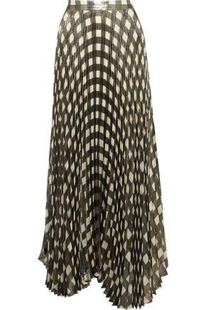 ALICE + OLIVIA Katz checked plissé silk-blend lamé maxi skirt
