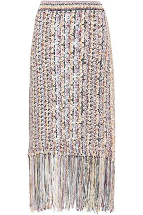 ADAM LIPPES Fringed cotton-blend bouclé midi skirt