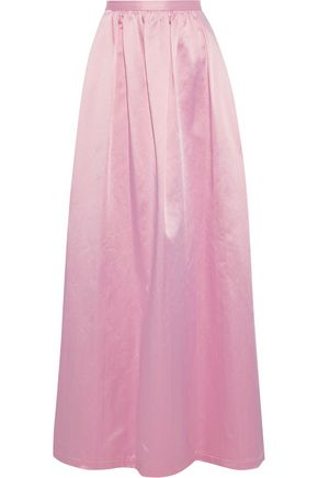 ROSIE ASSOULIN Gathered cotton-blend satin maxi skirt