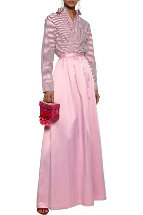 ROSIE ASSOULIN Gathered cotton-blend satin maxi skirt