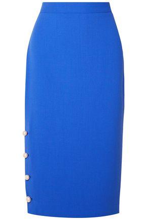 LELA ROSE Faux pearl-embellished wool-blend crepe pencil skirt