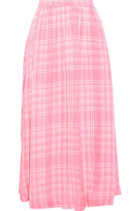 ROSIE ASSOULIN Gathered checked voile midi skirt