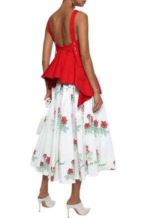ROSIE ASSOULIN Pleated printed cotton-blend poplin midi skirt
