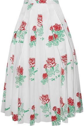 ROSIE ASSOULIN Pleated printed cotton-blend poplin midi skirt