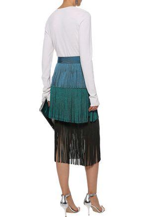 HERVÉ LÉGER Tiered fringed color-block bandage midi skirt