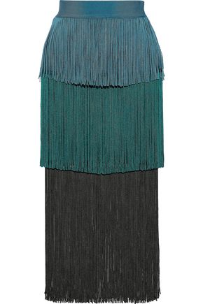 HERVÉ LÉGER Tiered fringed color-block bandage midi skirt