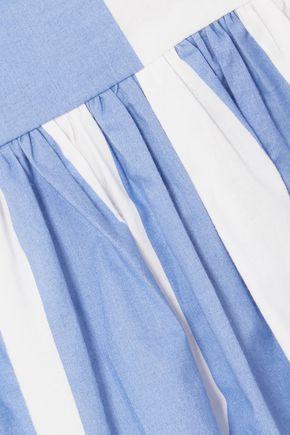 PUSHBUTTON Asymmetric striped cotton-poplin midi skirt