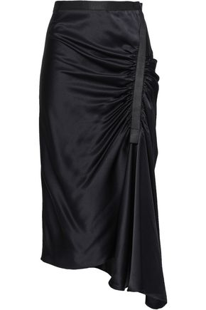 CHRISTOPHER ESBER Asymmetric ruched satin midi skirt