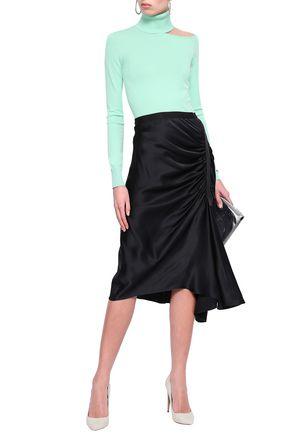 CHRISTOPHER ESBER Asymmetric ruched satin midi skirt