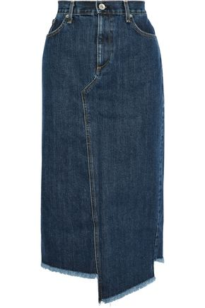 RAG & BONE Sukato asymmetric frayed denim midi skirt