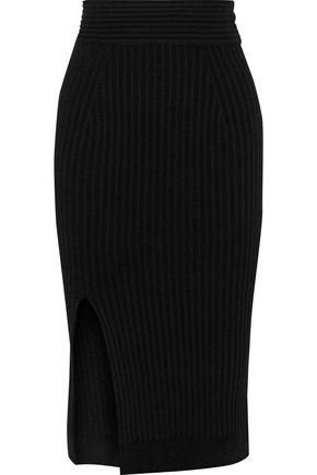 BRANDON MAXWELL Metallic ribbed-knit pencil skirt