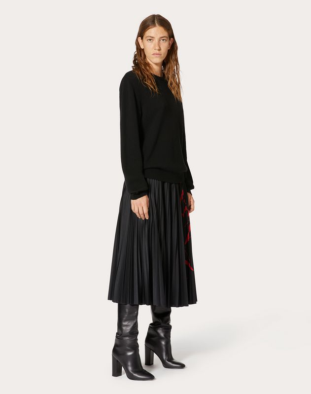 VLTN GRID PLEATED JERSEY SKIRT