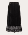 PLEATED LEATHER AND LACE SKIRT
