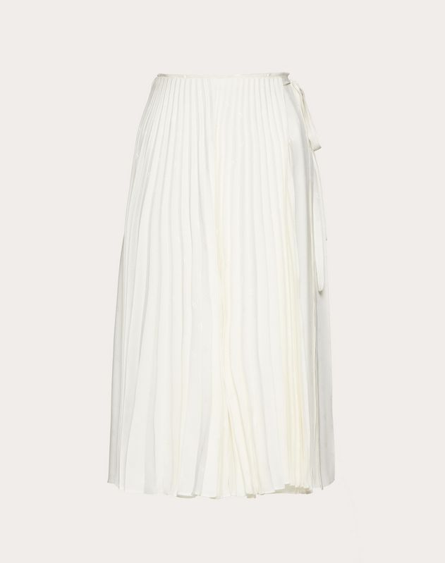 MINI VLOGO PLEATED SATIN JACQUARD SKIRT