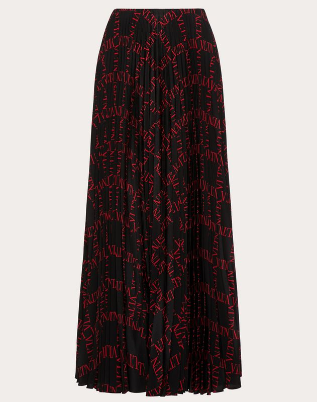 VLTN GRID PLEATED CREPE DE CHINE SKIRT