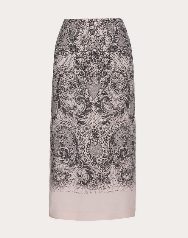 LACE PRINT CREPE DE CHINE SKIRT