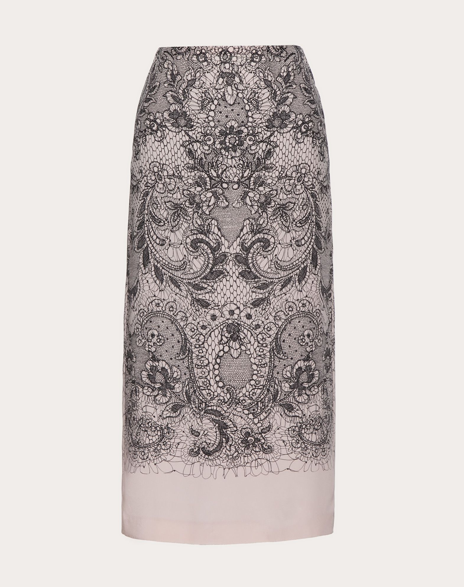 GONNA IN CREPE DE CHINE LACE PRINT