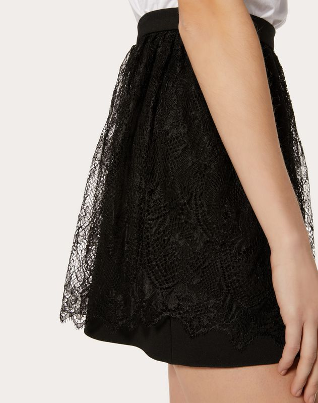 DOUBLE COMFORT CREPE AND LACE MINI SKIRT