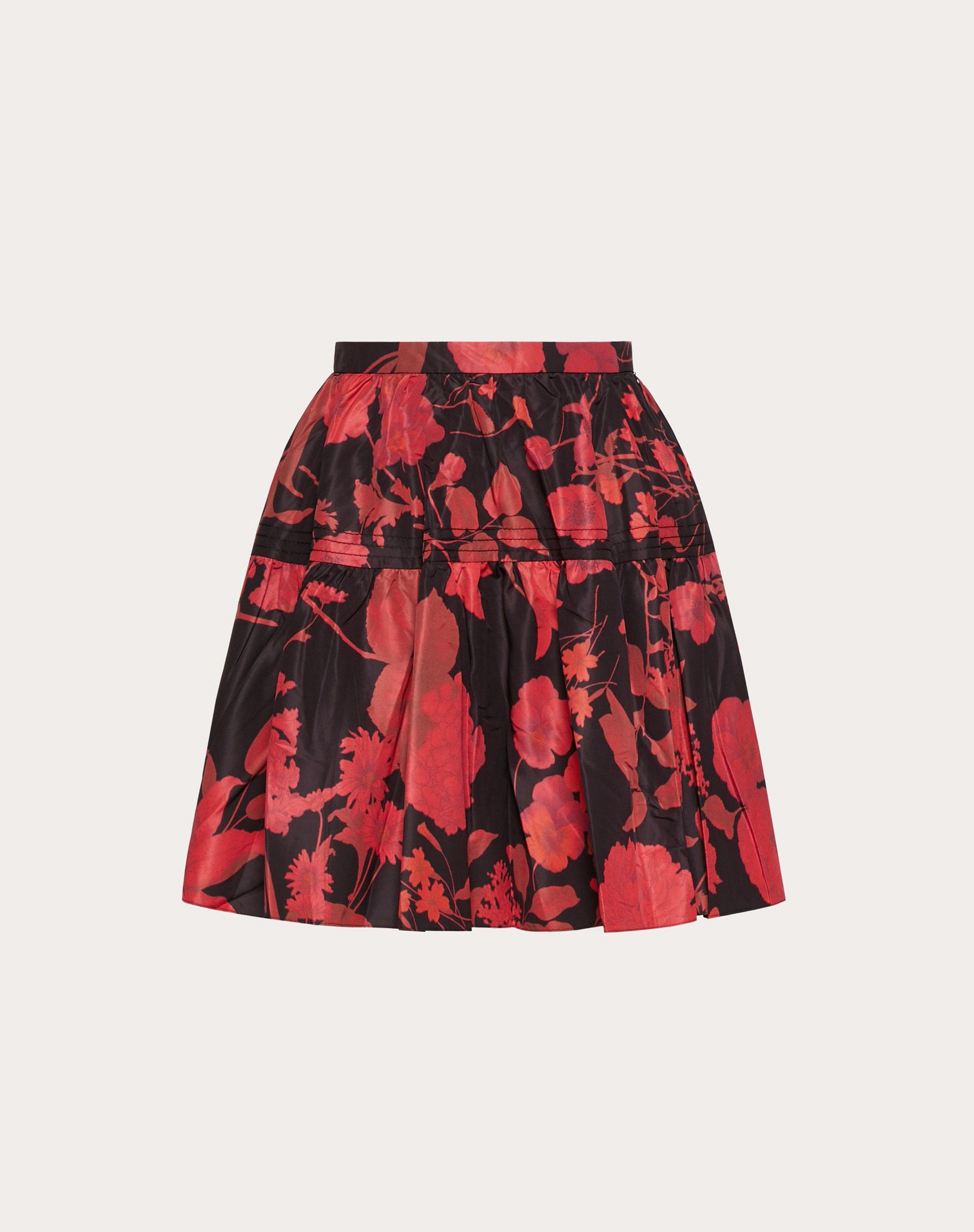 OVERDYED MICRO FAILLE SKIRT WITH DOUBLE FLOWER PRINT