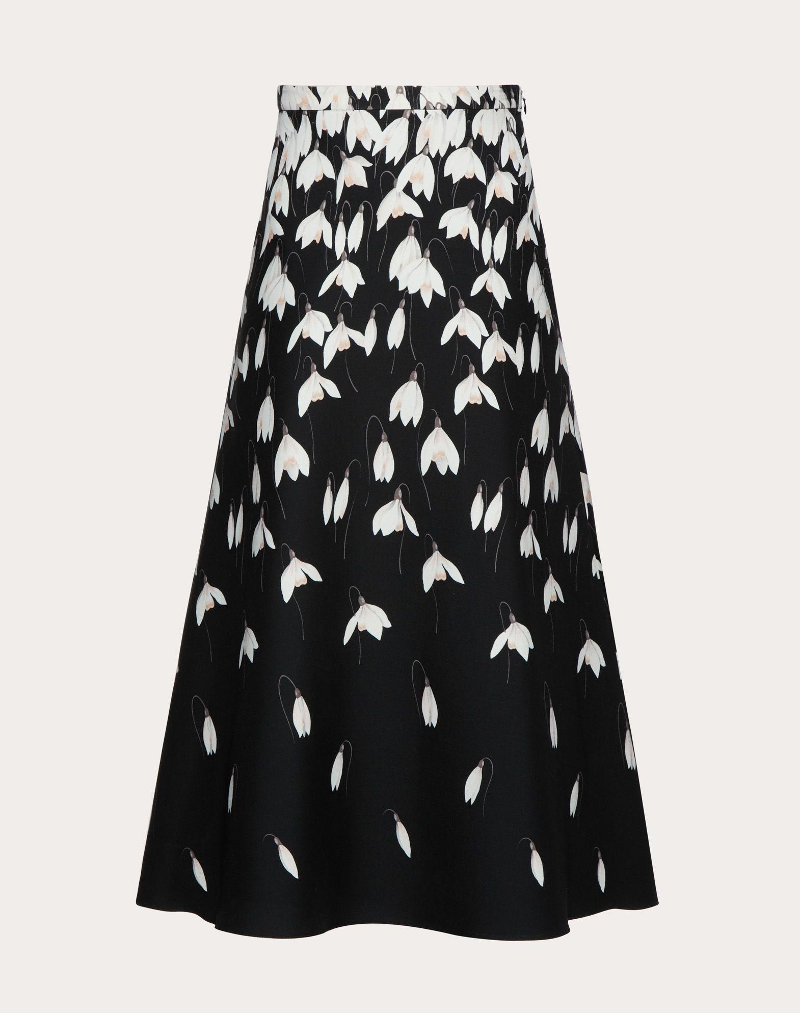 Falda de Crêpe Couture con campanillas de invierno