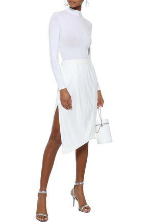 MUGLER Wrap-effect paneled plissé and cady skirt